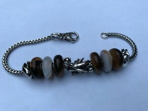 Trollbeads fantasy theme sterling bracelet and charms with multi beads