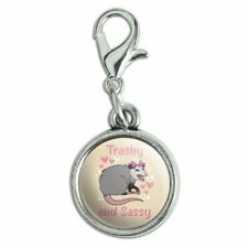 Trashy and Sassy Opossum Funny Antiqued Bracelet Charm with Lobster Clasp