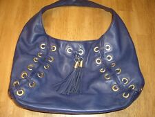 EUC Michael Kors Astor Navy Blue Leather Grommet Large Hobo Style Bag Tassels