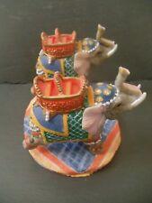 Titular de la luz de té de elefante dos Comercio Justo Indio Colorido detallada Inusual Regalo