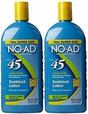 NO-AD Sunscreen Lotion SPF 45 Water Resistant 16oz ( 2 pack ) PRIORITY SHIP***