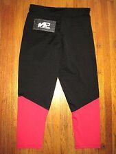 S2 Sportwear Black/Red Capri Cut Yoga Tights W/Zipper Pocket Size Medium NWT