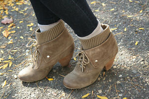 Dr. Scholl's Women's Ali Malt Taupe Fashion Ankle High Suede Boots Size 6.5-10