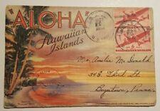Hawaii HI Aloha Hawaiian Islands 1944 Fold out Linen Postcard Souvenir Book