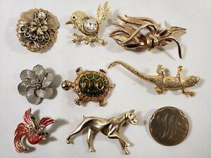 Vintage Brooch Pin Jewelry Lot (9) Most Unbranded - Dog, Birds, Lizard, Turtle