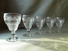 5 Antique/Vintage Stuart Crystal Wheel Etched Grapevine Sherry Glasses, Signed