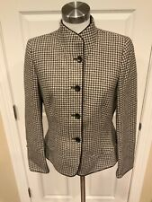 Armani Collezioni Gray Houndstooth Button Up Jacket, Size 10