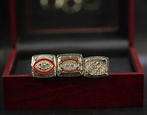 3 Pcs 1982 1987 1991 Washington Redskins Ring World Championship Ring with Box
