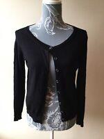Atmosphere Womens Cardigan Size 12 Black Thin Knot Long Sleeved Viscose Nylon