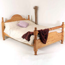 6FT Super King Bed Frame SOLID PINE CLASSIC RAIL With Barley Twist