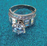 Solid 14k White Gold Solitaire 4.0 ct Man Made Diamond Engagement Wedding Ring 8