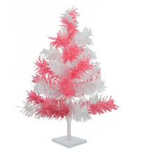 24'' Pink & White Tinsel Tree Christmas Easter Holiday Tree 2' Table-Top Decor
