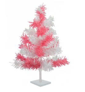 24'' Pink & White Tinsel Tree Valentine's Day Holiday Tree 2' Table-Top Decor