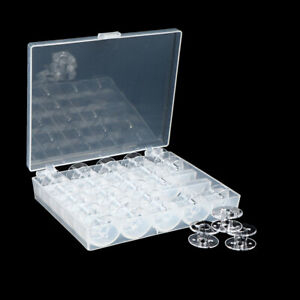 25 Spools + Empty Bobbins Case Organiser Sewing Machine Bobbin Clear Box StoraQI