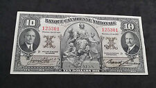 1935 Banque Canadienne Nationale Ten Dollar $10 Dix Note Bill Canada