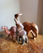 Vintage Hand Carved Wood Elephant Figurine Lot of 3 Asian African Animals