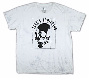 Janes Addiction Skull Printed White Patterned T-Shirt NEW and OFFICIAL