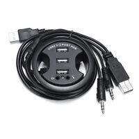 USB 2.0 HUB / Verteiler für Tischeinbau - 3xUSB Port + Audio - für 60mm