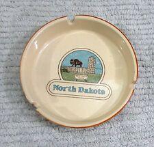 "North Dakota Capitol Buffalo Bison Old 5"" dia Porcelain Pottery Ashtray FREE S/H"