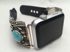 Native American Turquoise and Sterling Silver Apple Watch Band  38MM