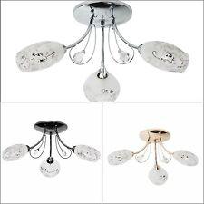 Plafonnier lustre à 3 branches design moderne en métal avec cristal pour salon