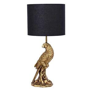 Sahara Gold Bird And Black Shade Lamp Shade Table / Bedside Lamp