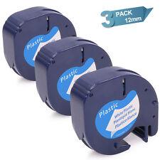 3 DYMO LetraTag 91331 91201 Black on White Refills Tape 12mm x 4m