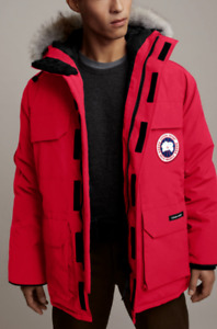 CANADA GOOSE EXPEDITION RED HOODED FUR TRIM ARTIC SNOW SKI PARKA DOWN COAT XXL