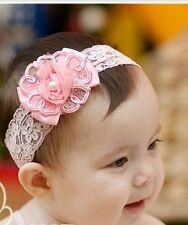 Nuevo Flor Niñas Bautizo Fiesta Cinta de cabeza de encaje en blanco, azul, rosa,