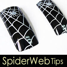 70x Pre-design French Acrylic False Nail Tips Spider 13