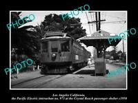 OLD HISTORIC PHOTO OF CRYSTAL BEACH CALIFORNIA PACIFIC ELECTRIC RAIL DEPOT c1950