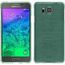 Silikon Hülle für Samsung Galaxy Alpha grün brushed + 2 Schutzfolien