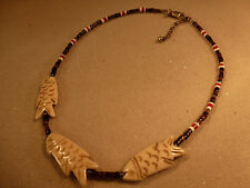 """EMILY RAY BEADED TIGERS EYE CORAL NECKLACE 3 CARVED FISH PENDANTS 17"""" STERLING"""