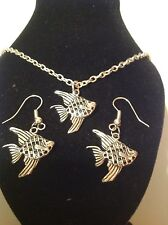 fish necklace and matching hook earrings silver plated