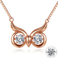 Dancing CZ Pendant Rose Gold Plated 925 Sterling Silver Necklace Owl Jewelry