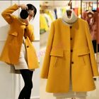 Womens Slim Fit Trench Long Coat Jacket 2017 Spring Fashion Wool Blend Outwear