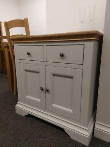 Eton Soft Grey & Oak Mini Sideboard / Painted Storage Cupboard / Cabinet / Unit