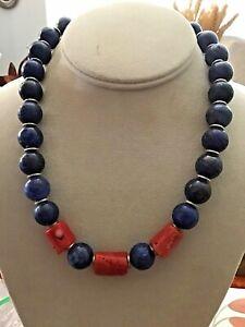 Lapis & Coral Necklace