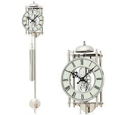 AMS 304 Wanduhr mit Pendel mechanisch Pendeluhr silbern Skelettuhr H ca 25 cm