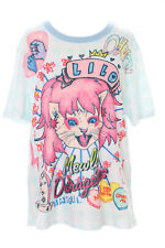 T-56 clair-bleu rock 'n roll queen cat chat Carreau T-shirt pastel goth lolita japon