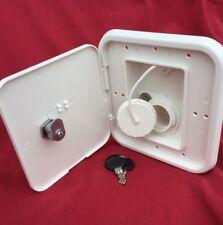 RV trailer GRAVITY WATER FILL hatch with lock VALTERRA marine motorhome WHITE
