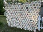 Early Hand Pieced Grandmothers Flower Garden  QUILT TOP 90x69 TINY PIECES AMAZI