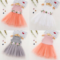 Toddler Kids Baby Girls Sleeveless Floral Tulle Dress Flower Princess Paty Dress