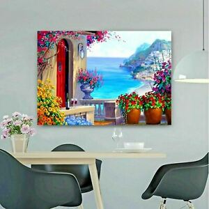 Flower Terrace Sea View Printed Gallery Framed Canvas Wall Art  Print Picture