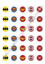 30 Superhero cake toppers 40mm Printed on premium rice paper