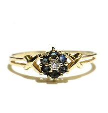 10k yellow gold .015ct diamond sapphire gemstone ring 1.3g  6.75