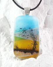 Handmade Crafted Art Dichroic Fused Glass Windy Tree Pendant with Necklace
