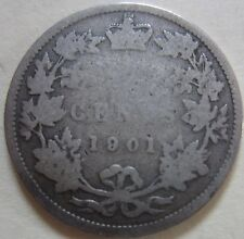 1901 Canada Silver Twenty-Five Cents Coin. (UJ10)