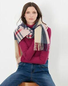 Joules Womens Bracken Check Woven Warm Handle Scarf - Tan Multi Check - One Size