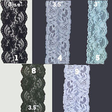 """3""""- 4"""" inch Stretch Floral Lace Edge Trim 1,5,10 Yards Various Colors"""